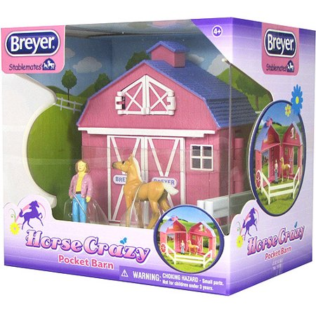 Breyer Stablemates Horse Crazy Pocket Barn and Horse Play Set (1:32 Scale) (Breyer Barn And Horses)