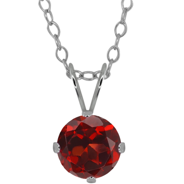 1.50 Ct Round Red Garnet 925 Sterling Silver Pendant With Chain