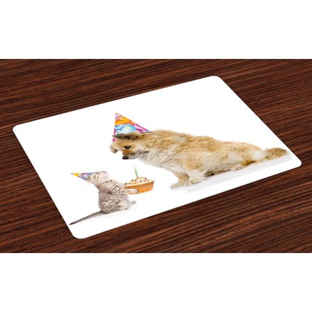 Kids Birthday Placemats Set of 4 Cat and Dog Domestic Animals Human Best Friend Party with Cupcake and Candle, Washable Fabric Place Mats for Dining Room Kitchen Table Decor,Multicolor, by (Best Place To Shop For Kids)