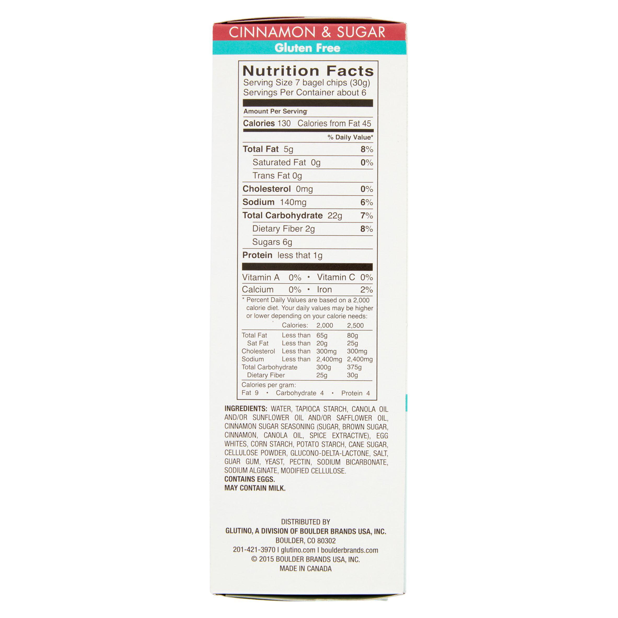 Glutino! Cinnamon & Sugar Gluten Free Bagel Chips, 6 oz