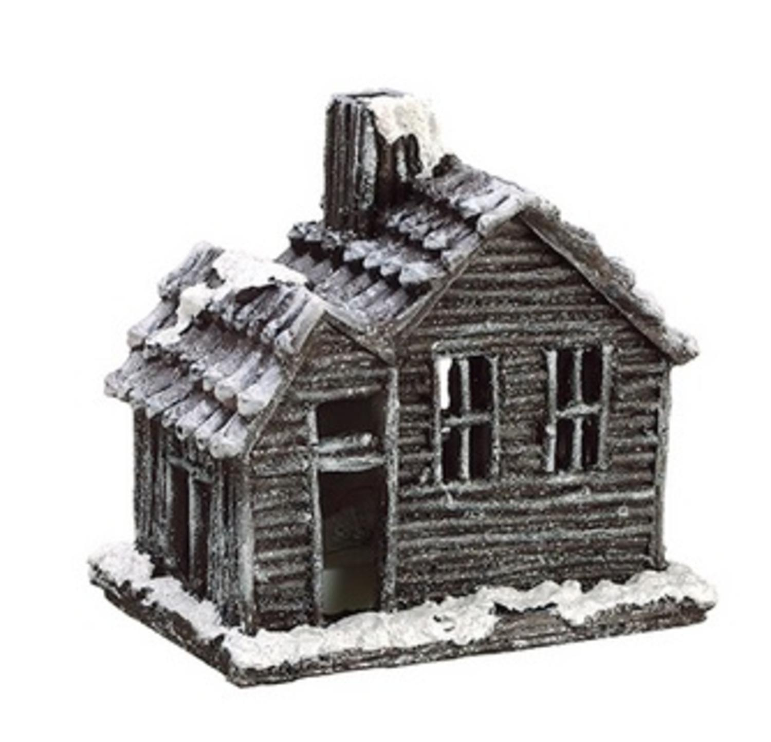 Country Cabin Lighted Glittered Snowed Flocked House Table Top Christmas Decoration 7""