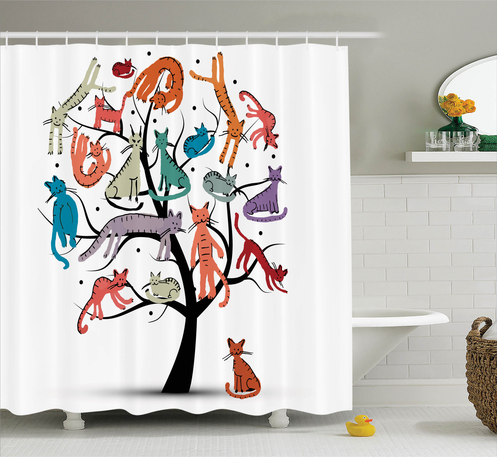 Cartoon Decor Shower Curtain Set, Cute Cat Tree With Various Kitties On The Branches Little Paws Childish Cheerful Art Work, Bathroom Accessories, 69W X 70L Inches, By Ambesonne
