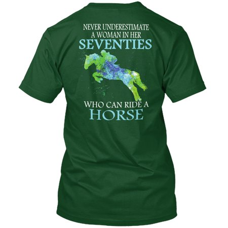 Never Horse Seventies Woman Shirt Hanes Tagless Tee - Seventies Clothes