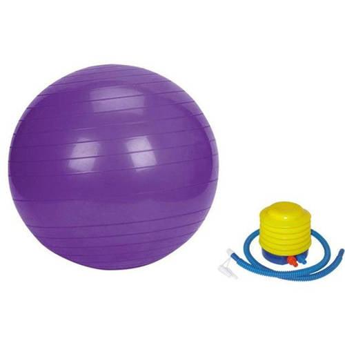 GGI Burst Resistant Yoga Exercise Fitness Pilates Purple, 75cm Stability Ball with Pump