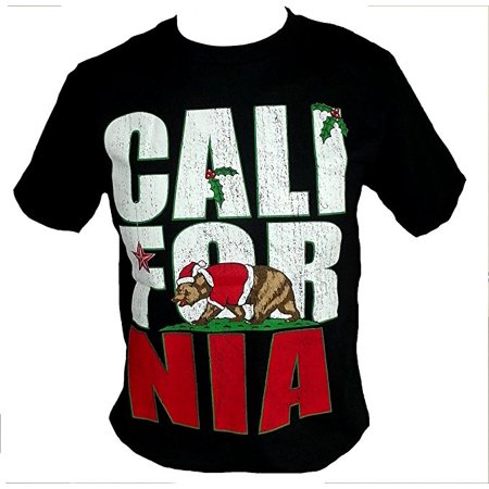 California Bear Christmas Mens Black Fashion Shirt (California Mens Fashion)