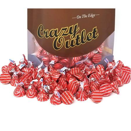 Hershey's Kisses Hugs White Crème Candy, Red Silver Stripe Foils, 3Lbs](Hershey Hugs)