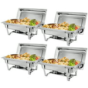 4 Pack of 8 Quart Stainless Steel Chafer Full Size Chafer Chafing Dish Buffet Set W/Water Pan, Food Pan, Fuel Holder and Lid For Catering Warmer Set