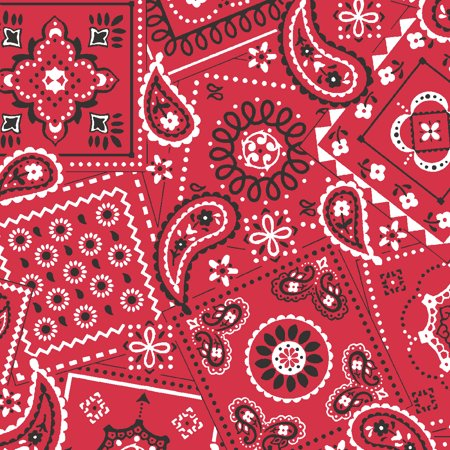 "Waverly Inspirations Cotton 44"" Bandana Poppy Red Print Fabric, per Yard"