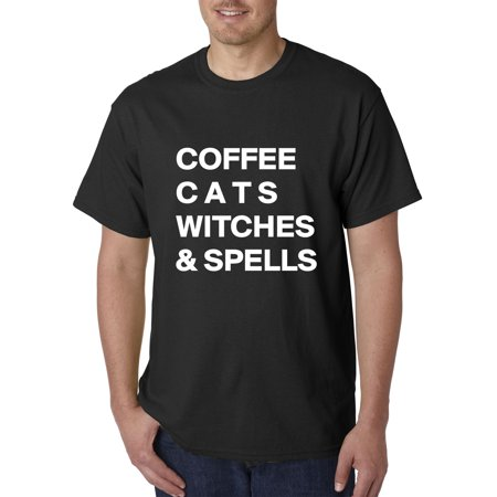 New Way 973 - Unisex T-Shirt Coffee Cats Witches And Spells Halloween Party Small Black - Halloween Names For Orange Cats