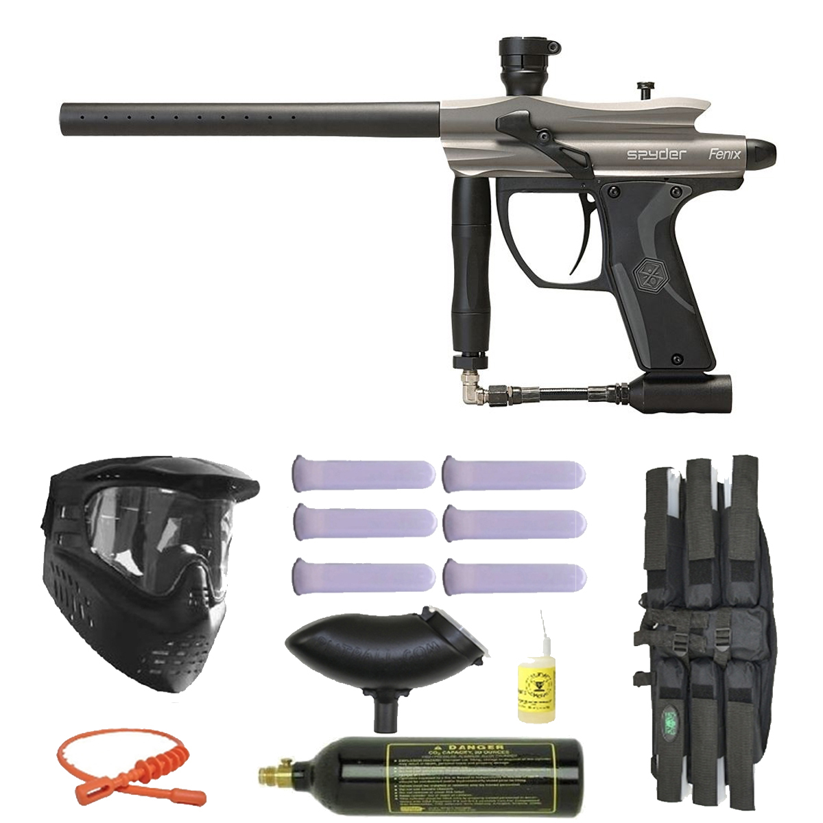 Click here to buy Spyder Fenix Electronic Paintball Marker Gun 3Skull Mega Set Silver Grey.