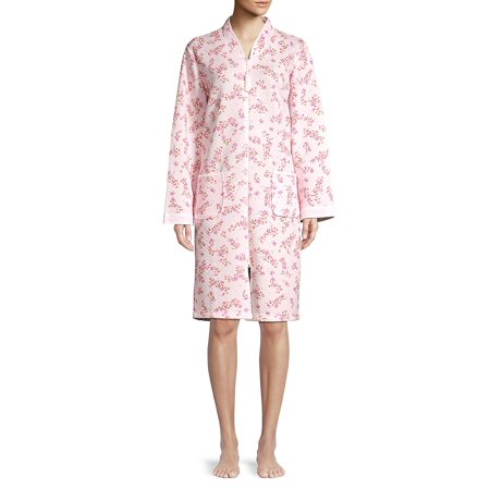 - Floral Quilted Zip-Front Robe