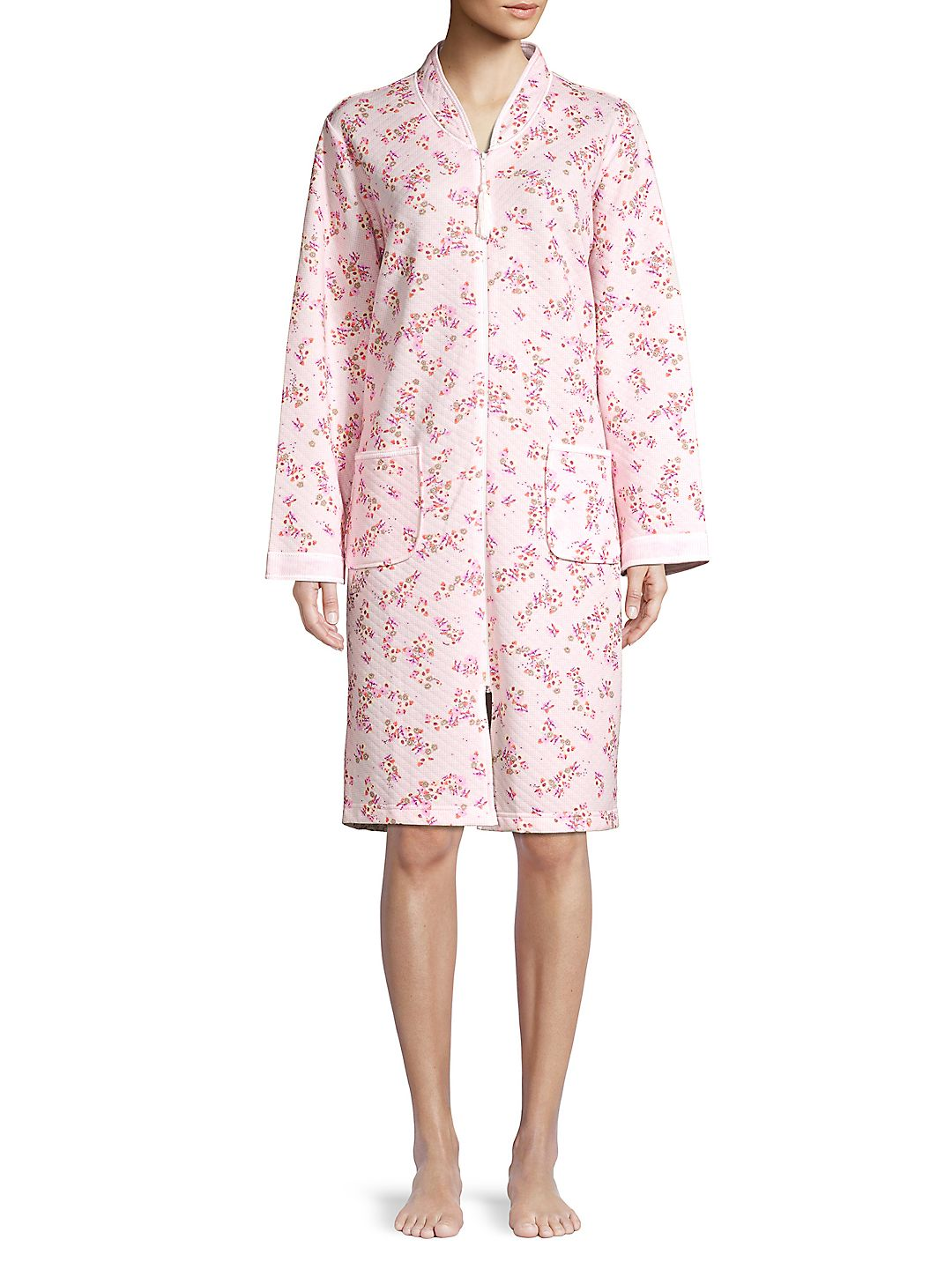 Floral Quilted Zip-Front Robe