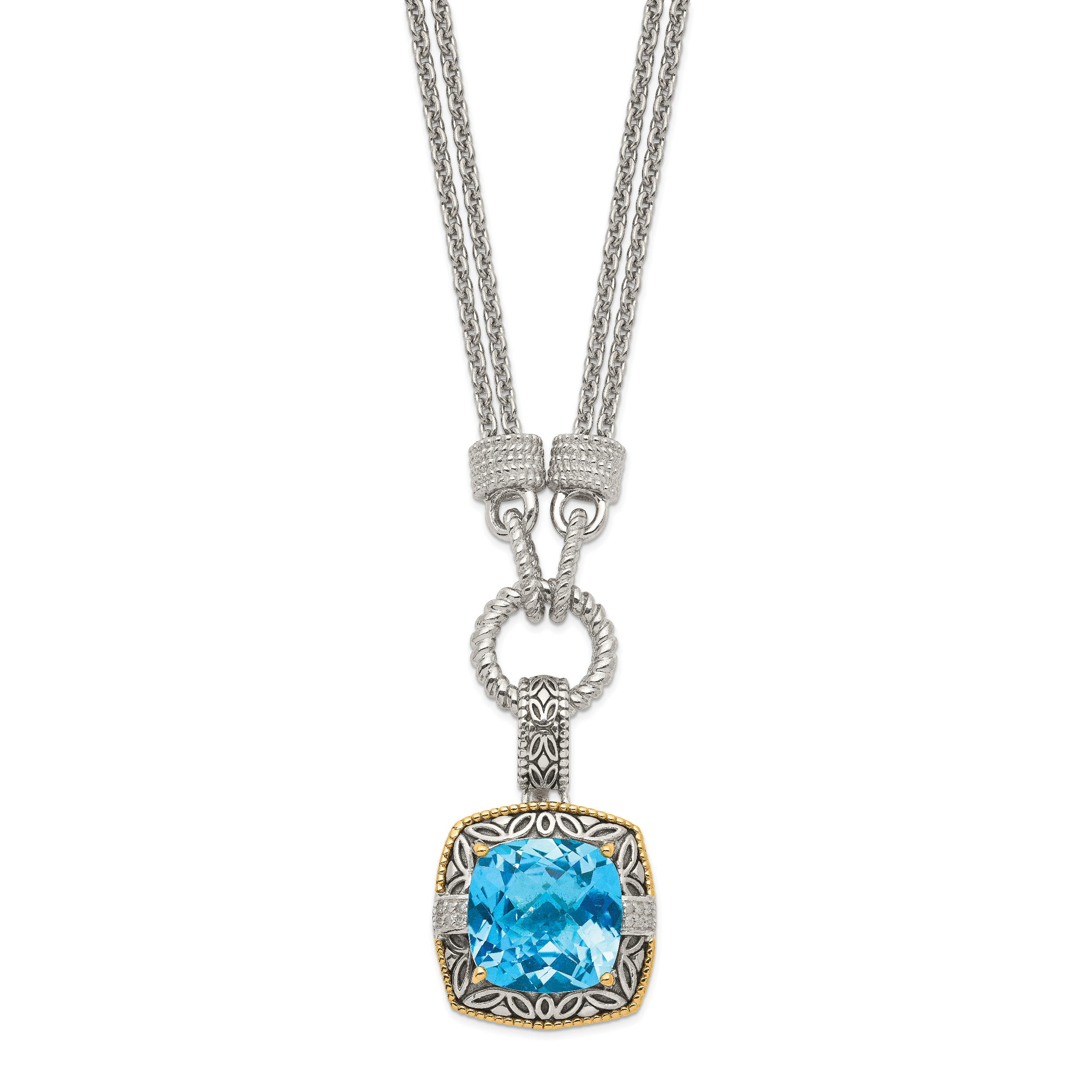Sterling Silver Two Tone Silver And Gold Plated Sterling Silver w/Sky Blue Topaz & Diamond Necklace - image 2 of 2