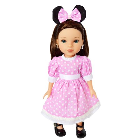 My Brittany's Pink Mouse Dress for Wellie Wisher Dolls and Glitter Girls Dolls- 14 Inch Doll Clothes - Glitter For Girls