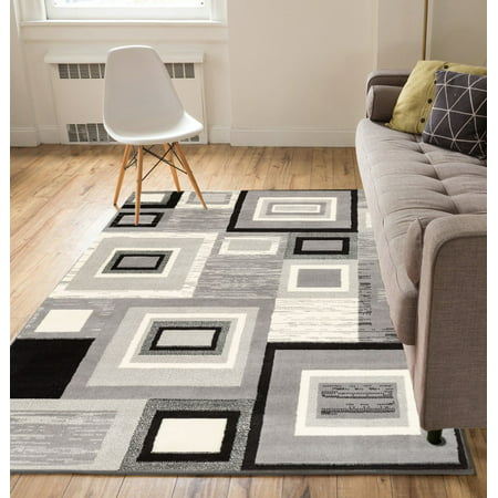 Well Woven Miami Sensation Squares Geometric Grey Area Rug Neutrals 8 Square Area Rug