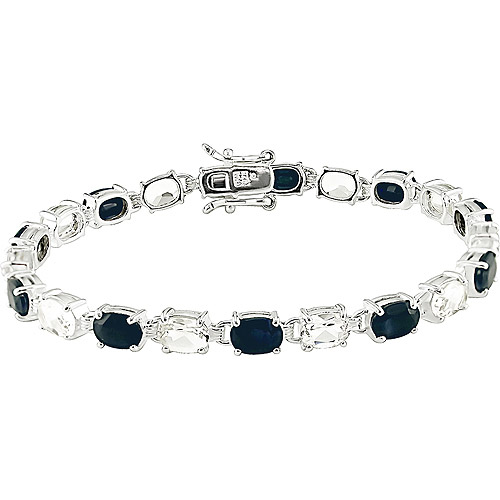 "Sterling Silver 7x5mm Oval Black Sapphire & White Topaz Bracelet, 7"""