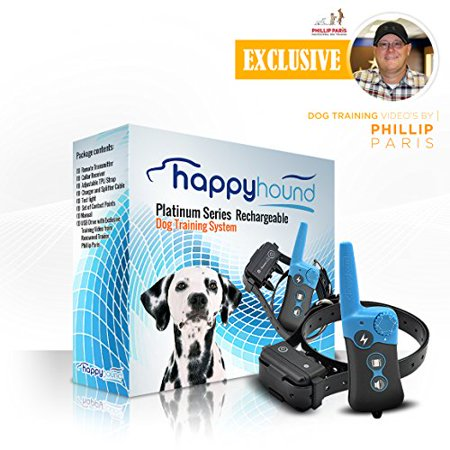HAPPY HOUND Dog Training Collar with Remote Platinum Series, Rechargeable, Waterproof, 330-yard range, w/ downloadable free exclusive training videos by renowned trainer Phillip Paris