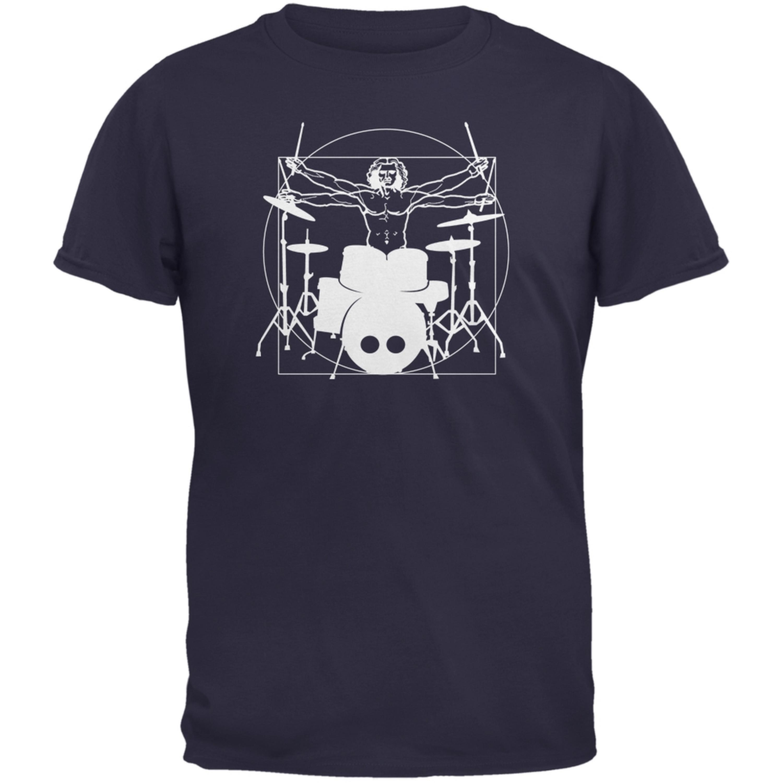 Vitruvian Man Drummer Navy Adult T-Shirt