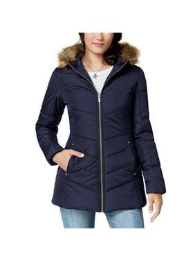 Celebrity Pink Juniors' Faux-Fur-Trim Hooded Puffer Coat (Dark Sapphire, Large)