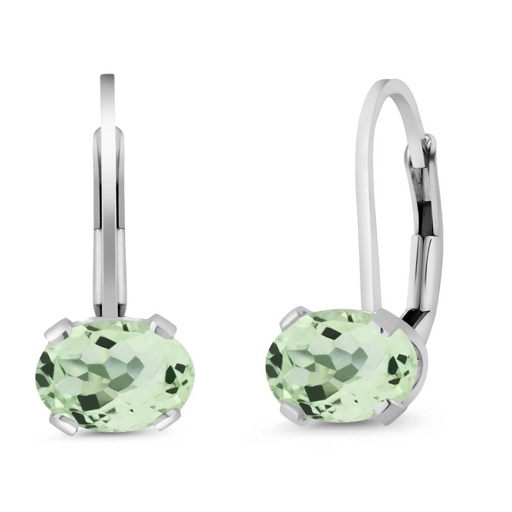 2.00 Ct Oval Green Amethyst Gemstone 925 Sterling Silver leverback Earrings
