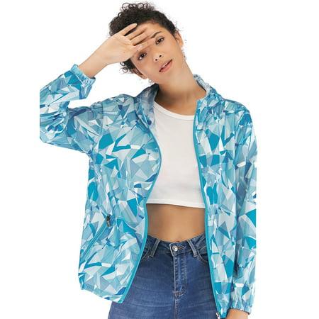 - Womens Fashion Jacket Waterproof Windbreaker Packable Jacket Classic Zipper-Up Hoodie Active Sportswear S-4XL