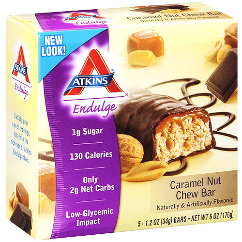 Atkins Endulge Caramel Nut Chew Bar, 1.2 oz, 5ct