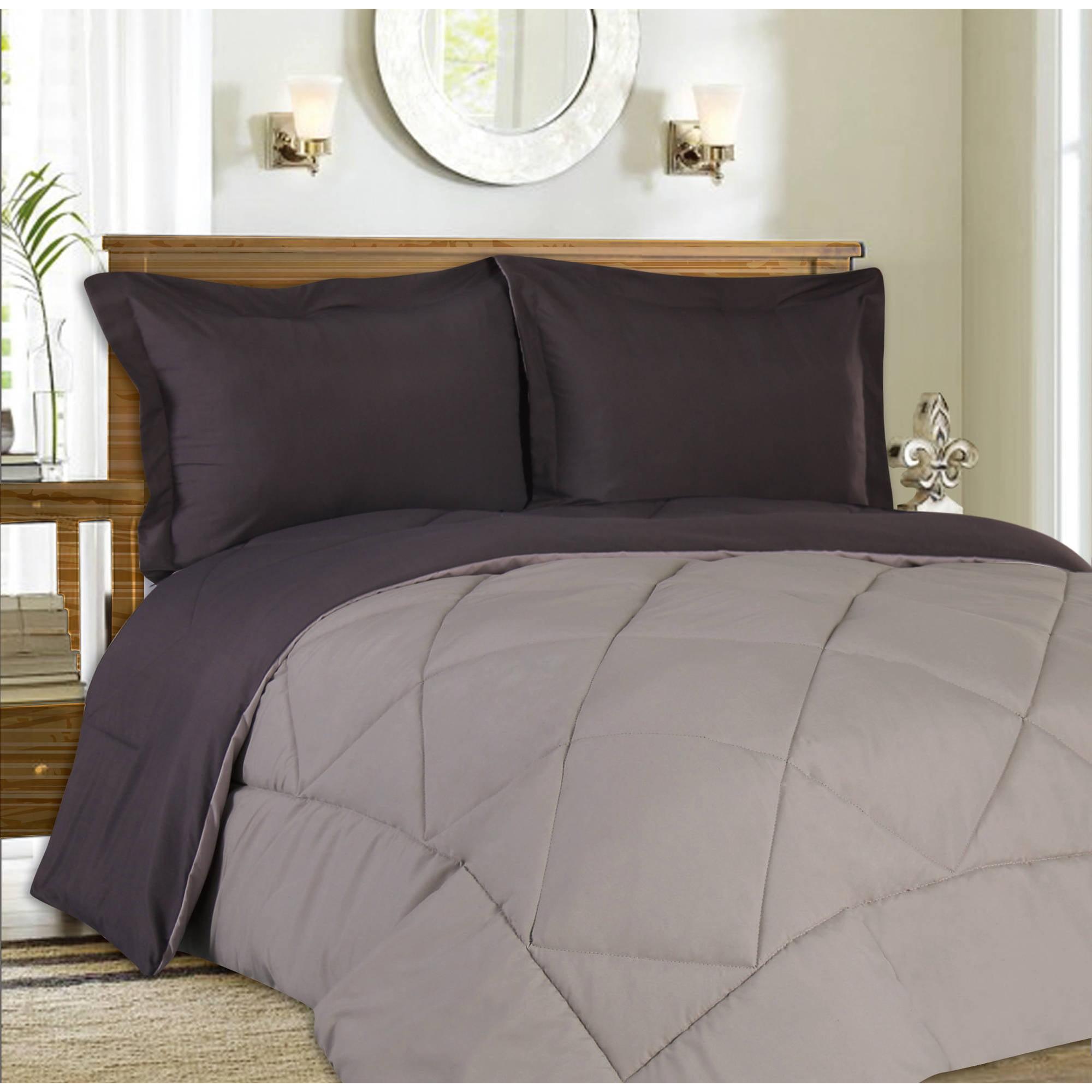 Down Alternative Comforter Reversible 3-Piece Bedding Set, 90 GSM