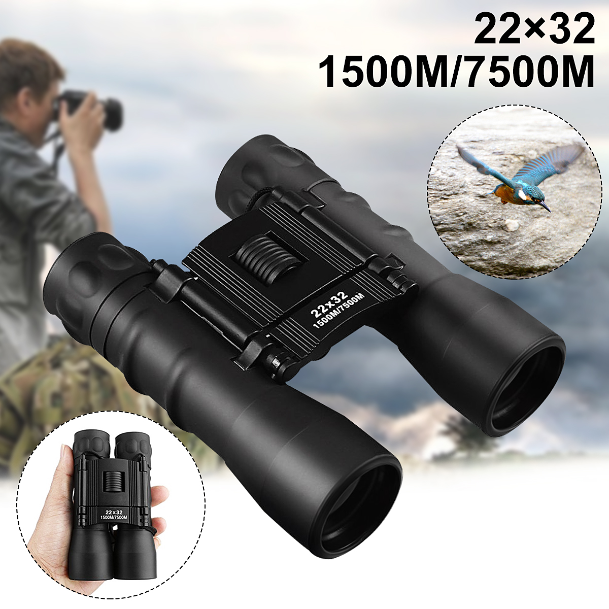 ARCHEER Night Vision Binoculars Telescope Portable 22x32 Magnification 7500M Zoomable Folding Binoculars Archeer Telescope for Outdoor Bird Watching Travelling Sightseeing Hunting