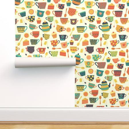 Peel-and-Stick Removable Wallpaper Tea Teacup Mug Teapot Cup Retro Orange Peel Jumbo Cup