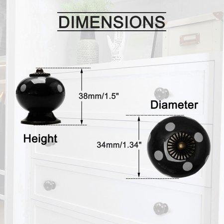 Ceramic Knob Pull Handle Dresser Cupboard Wardrobe Cabinet Accessories Black - image 5 de 7