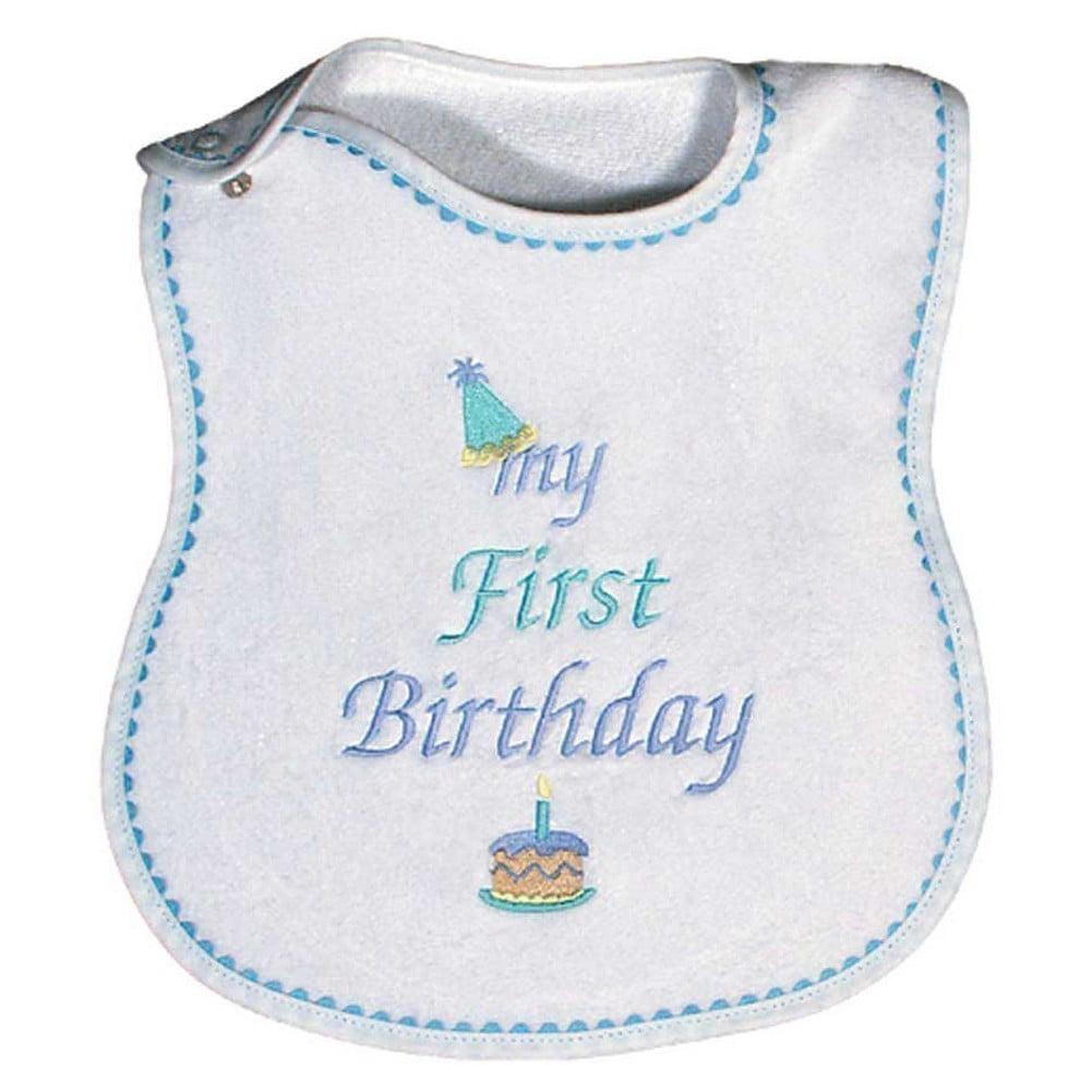 Raindrops 6003B Raindrops -My First Birthday- Embroidered Bib, Blue by Raindrops