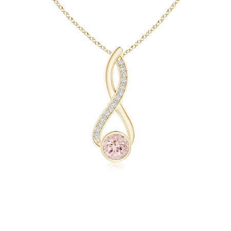 Infinity Twist Bezel Set Morganite Solitaire Pendant with Diamond in 14K Yellow Gold (5mm Morganite) - SP1013MGD-YG-AA-5
