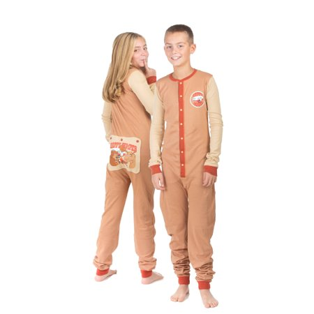 Boys & Girls Kid's Union Suit Pajamas HAPPY CAMPER Design On Butt