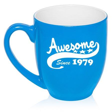 16 oz Large Bistro Mug Ceramic Coffee Tea Glass Cup Awesome Since 1979 40th Birthday (Light - Blue Glass Cups