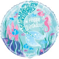 "Foil ""Happy Birthday"" Mermaid Balloon, 18in"