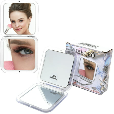 10x Magnifying Compact Folding Double Mirror | Makeup & Beautifying Mirror + Magnification for Blackheads/Blemishes/Hair Removal |Pocket Size, Double-Sided, Lightweight ● Perfect for Travel