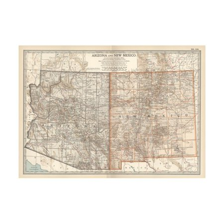 - Map of Arizona and New Mexico. United States Print Wall Art By Encyclopaedia Britannica