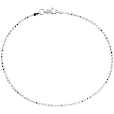 Sterling Silver Faceted Pallini Bead Ball Chain Necklaces & Bracelets 1.8mm Nickel Free Italy, 7-30 inch
