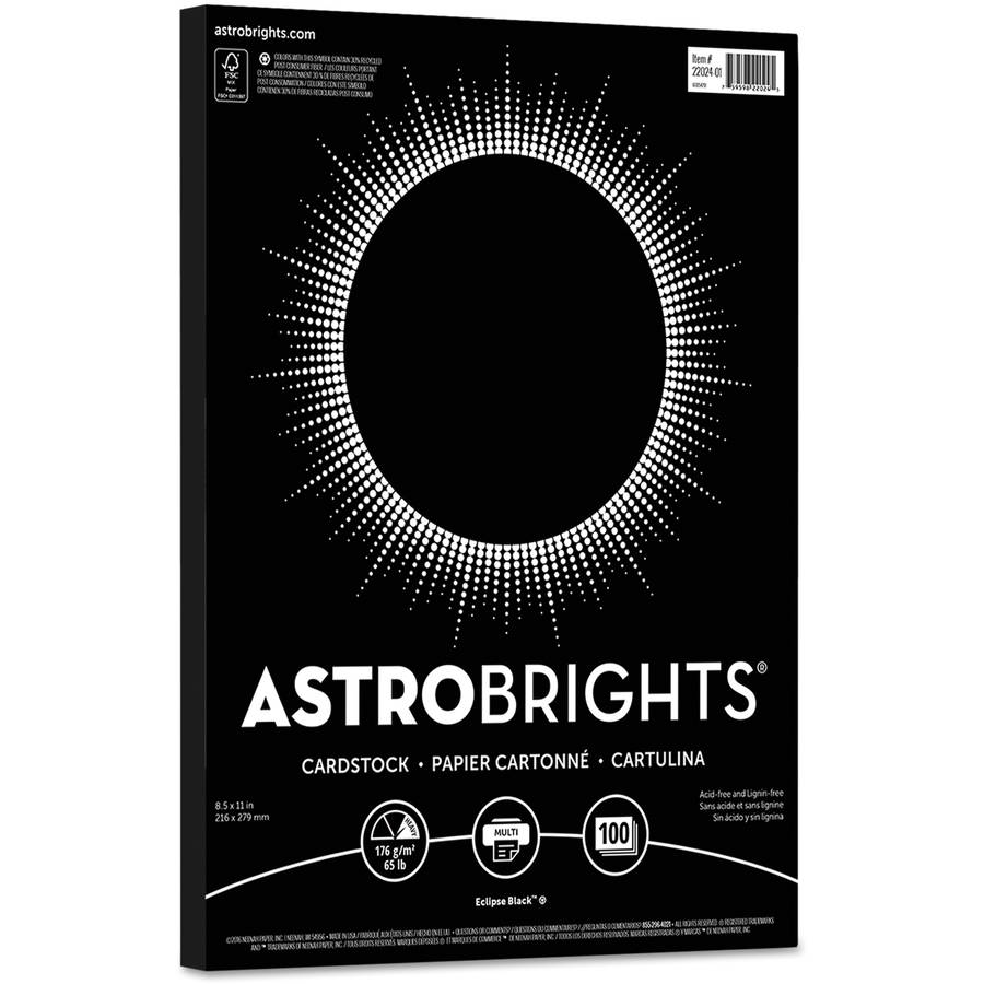 "Neenah Paper Astrobrights Colored Card Stock, 65-Pound, 8-1/2"" x 11"", Eclipse Black, 100 Sheets"