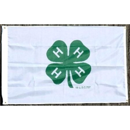 4-H FLAG, 3'x5' - , farm, agriculture, country, farmers, Polyester By 4H,USA - France Country Flag