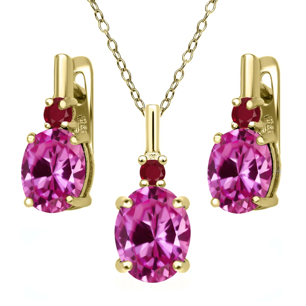 7.32 Ct Pink Created Sapphire Red Ruby 18K Yellow Gold Plated Silver Pendant Earrings Set by