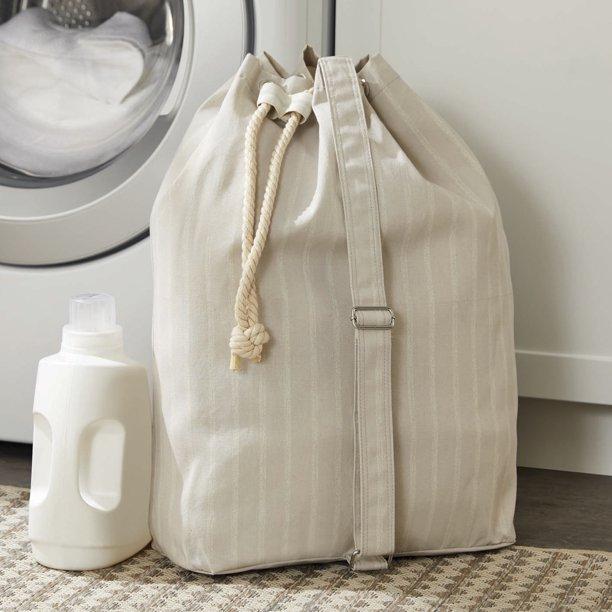 Better Homes & Gardens Charleston Collection Grey Pumice Drawstring Laundry Bag