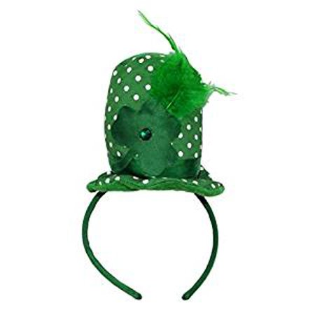 St. Patrick's Day Polka Dot Mini Hat with Gem and Feather Headband](St Patricks Day Hats Cheap)