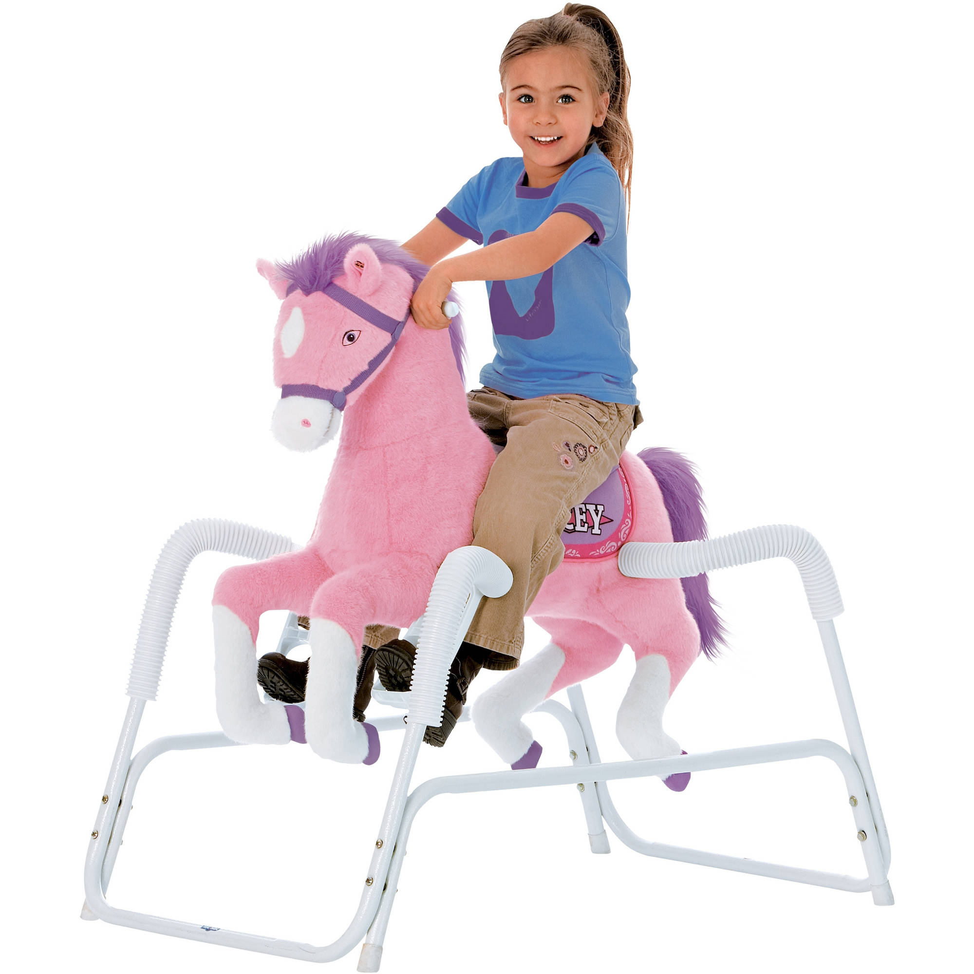 Rockin' Rider Lacey Deluxe Talking Plush Pink Spring Horse, Animated