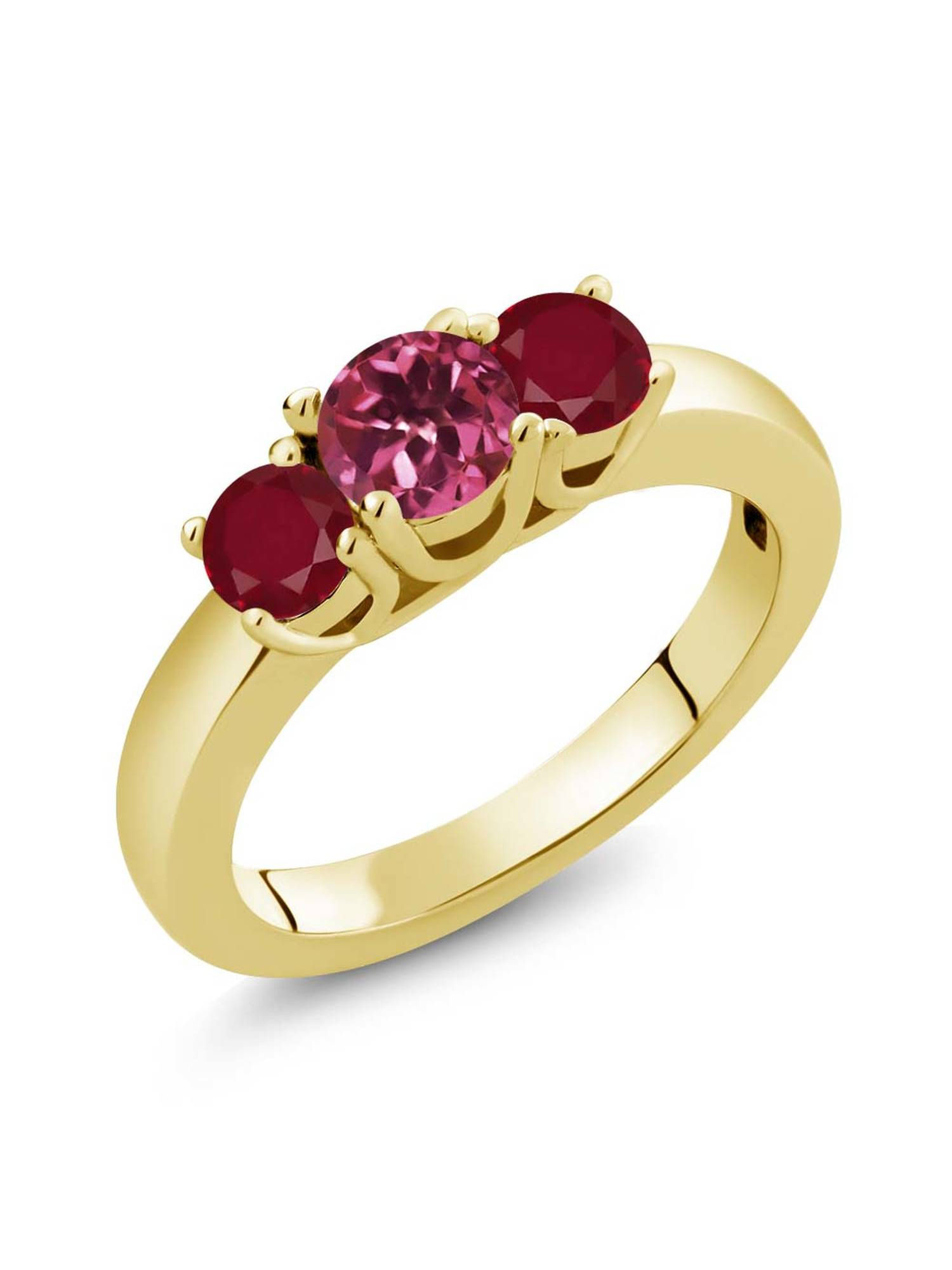 1.10 Ct Round Pink Tourmaline Red Ruby 18K Yellow Gold Plated Silver Ring by