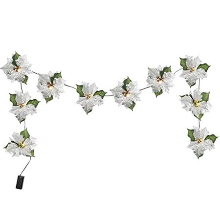 JH Smith Cordless Lighted Poinsettia Garland - Silver