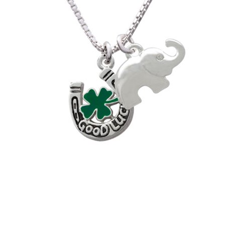 Good Luck Horseshoe with Green Four Leaf Clover Elephant Necklace, 18