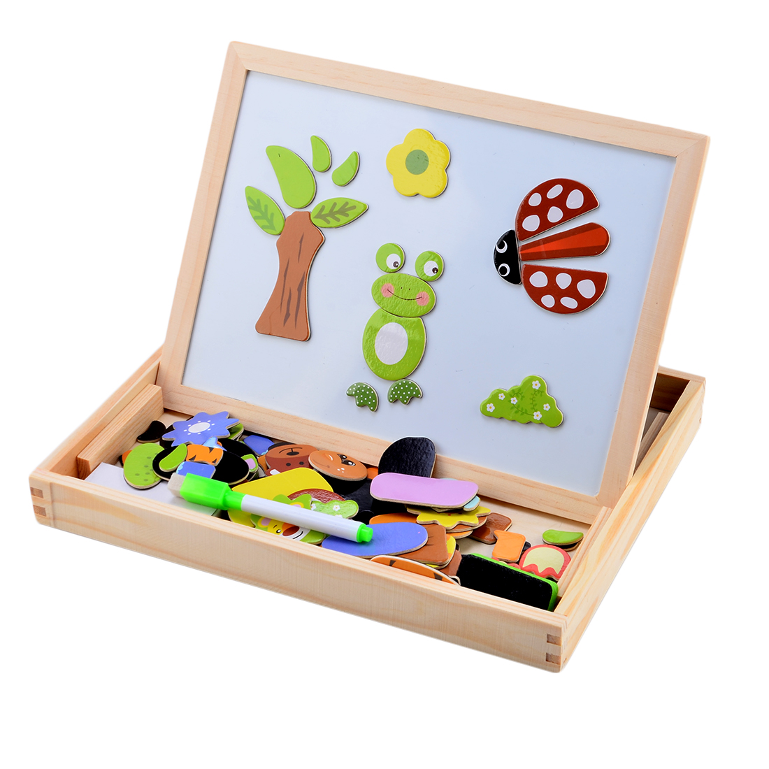fantastic wooden toys magnetic puzzle multifunction writing drawing  education wooden animal toys board for kids