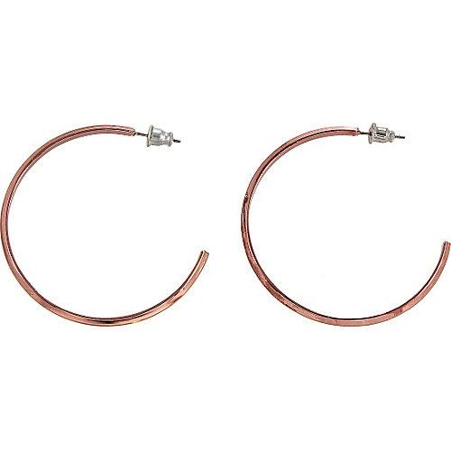 Alexa Starr Thin Smooth Knife Edge Copper Hoop Earrings