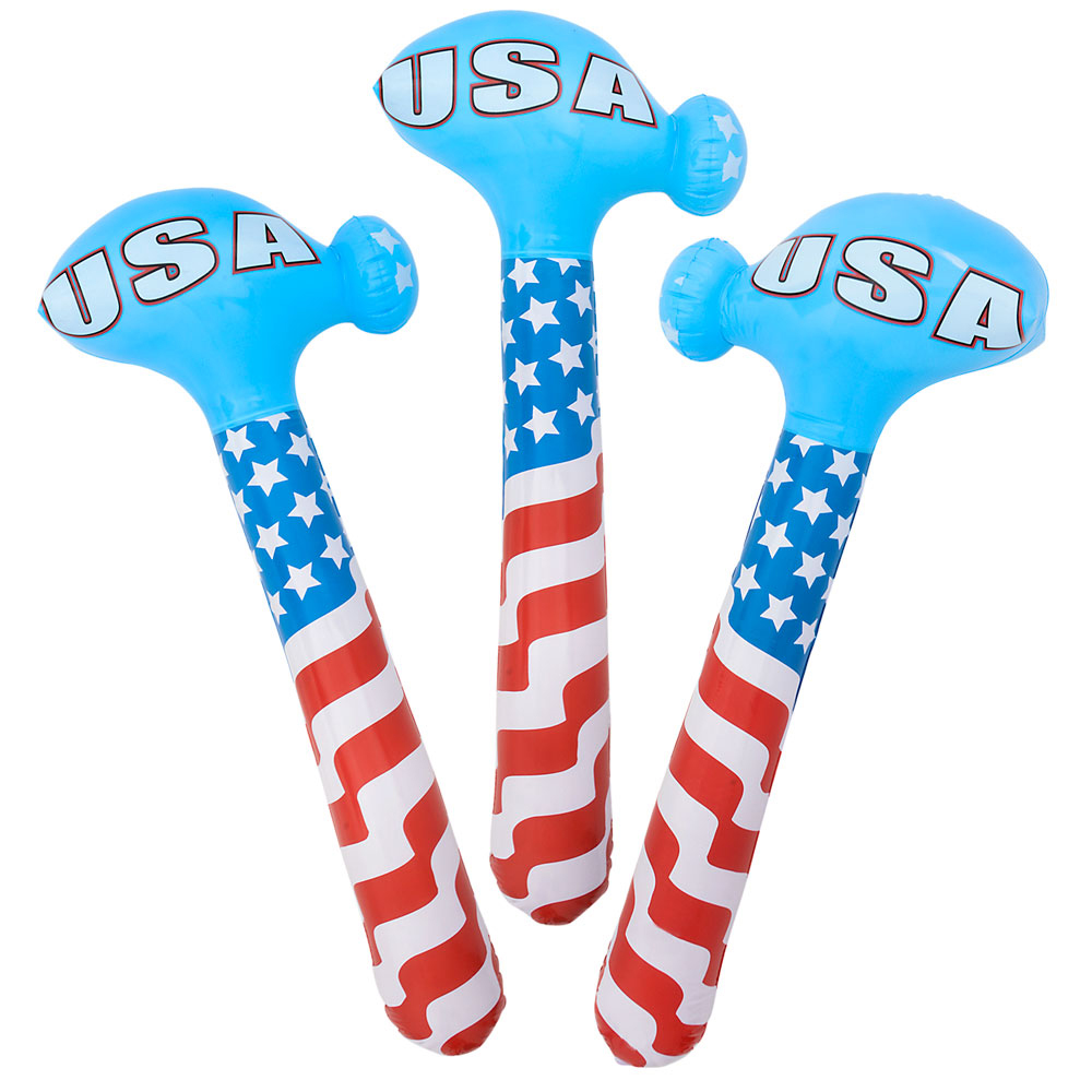 """4th of July Patriotic Hammer 36"""" Inflatable Toy, Red White Blue"""
